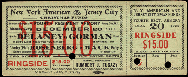 DELANEY, JACK-BUD GORMAN FULL TICKET (1926)