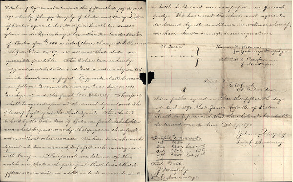 DIXON, GEORGE-JOHNNY MURPHY SIGNED FIGHT CONTRACT (1890)