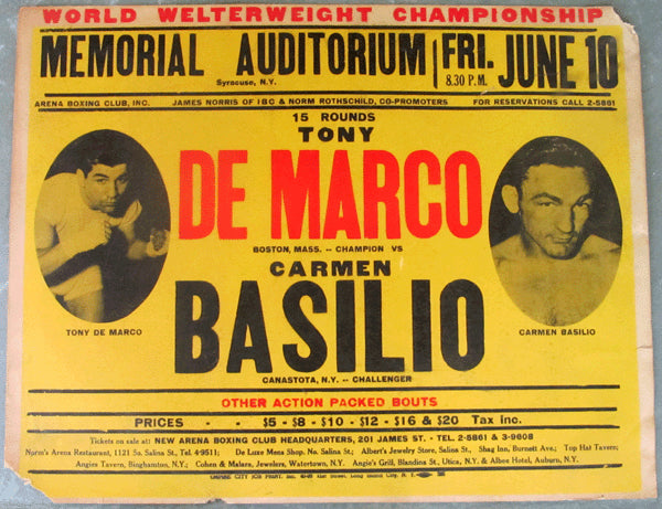 BASILIO, CARMEN-TONY DEMARCO ON SITE POSTER (1955-BASILIO WINS WELTER TITLE)