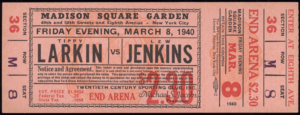 JENKINS, LEW-TIPPY LARKIN FULL TICKET (1940)