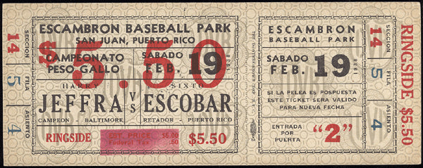 JEFFRA, HARRY-SIXTO ESCOBAR FULL TICKET (1938-ESCOBAR WINS BANTAMWEIGHT TITLE)