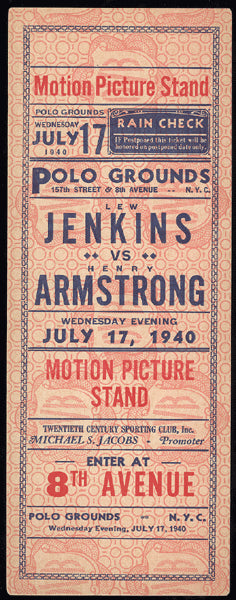ARMSTRONG, HENRY-LEW JENKINS FULL TICKET (1940)
