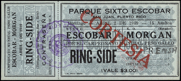 ESCOBAR, SIXTO-K.O. MORGAN FULL TICKET (1939)