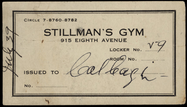 CAGNI, CAL STILLMAN'S GYM LOCKER PASS (1939)