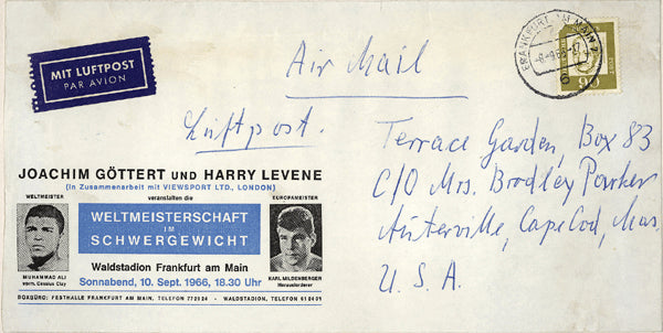 ALI, MUHAMMAD-KARL MILDENBERGER FIGHT ENVELOPE (1966)