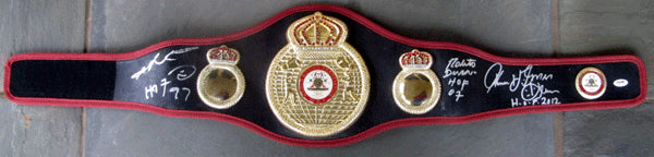 DURAN, ROBERTO & THOMAS HEARNS & SUGAR RAY LEONARD SIGNED BELT (PSA/DNA AUTHENTICATED)