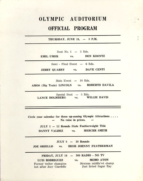 QUARRY, JERRY-DAVE CENTI OFFICIAL PROGRAM (1965-QUARRY'S 4TH PRO FIGHT)