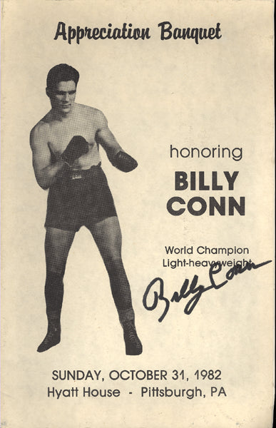CONN, BILLY SIGNED APPRECIATION BANQUET PROGRAM (1982)