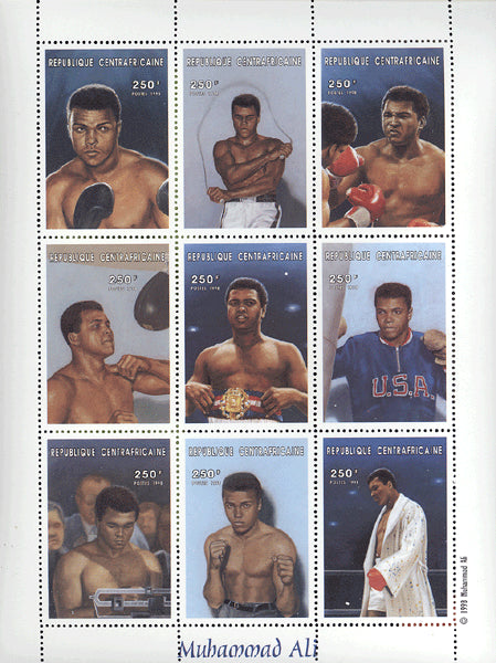 ALI, MUHAMMAD COMMEMORATIVE STAMPS (1998-CENTRAL AFRICA)