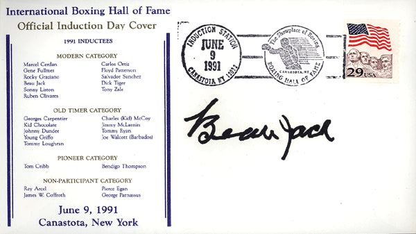 JACK, BEAU SIGNED FIRST DAY COVER (HOF-1991)