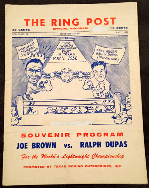 BROWN, JOE-RALPH DUPAS OFFICIAL PROGRAM (1958)
