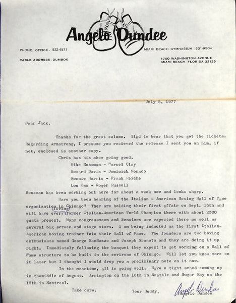 DUNDEE, ANGELO SIGNED LETTER (1977)