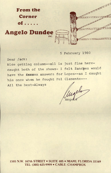 DUNDEE, ANGELO SIGNED LETTER (1980-SALVADOR SANCHEZ CONTENT)