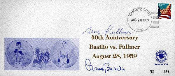 BASILIO, CARMEN & GENE FULLMER SIGNED HALL OF FAME FIRST DAY COVER (1999)
