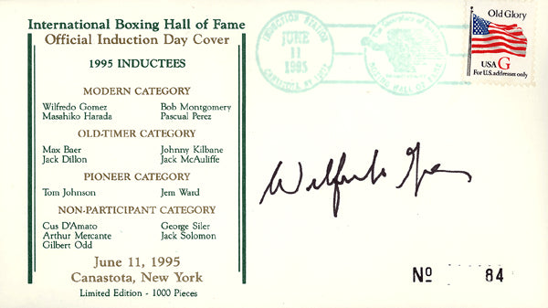 GOMEZ, WILFREDO SIGNED BOXING HALL OF FAME FIRST DAY COVER