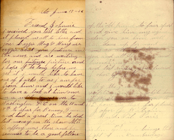 KILRAIN, JAKE HAND WRITTEN & SIGNED LETTER (1886-TO JOHNNIE MURPHY)