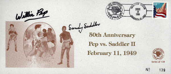 PEP, WILLIE & SANDY SADDLER SIGNED HALL OF FAME ENVELOPE (1999)