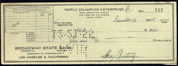 ARMSTRONG, HENRY SIGNED CHECK (JSA AUTHENTICATED)