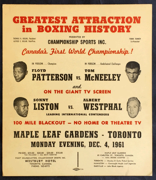PATTERSON, FLOYD-TOM MCNEELEY ON SITE POSTER (1961)