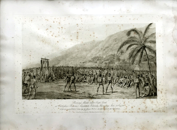 BOXING MATCH BEFORE CAPTAIN COOK ORIGINAL PRINT (HAWAII-1770)