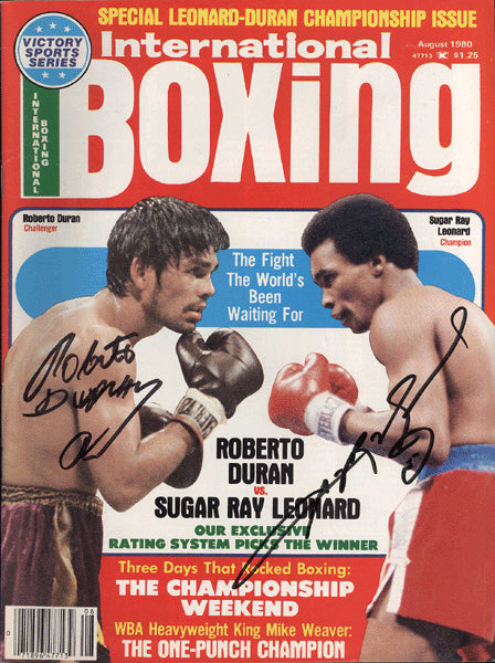 DURAN, ROBERTO & SUGAR RAY LEONARD SIGNED INTERNATIONAL BOXING MAGAZINE (1980)