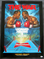 LEONARD, SUGAR RAY-THOMAS HEARNS II SIGNED ON SITE POSTER (1989-PSA/DNA AUTHENTICATED)