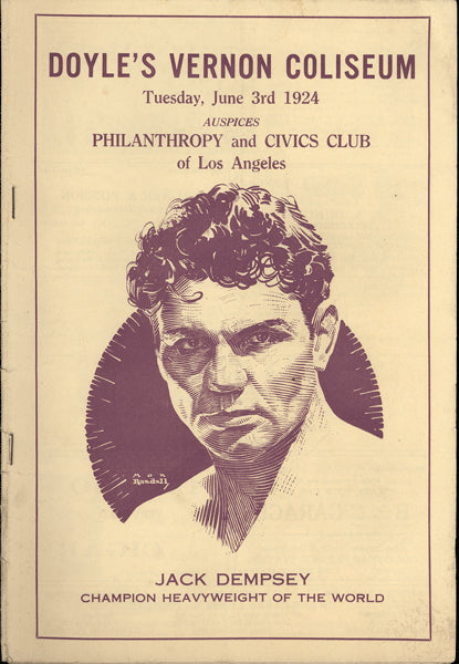 DEMPSEY, JACK EXHIBITION PROGRAM (1924-AS CHAMPION)