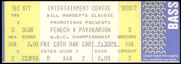 FENECH, JEFF-SAMART PAYAKAROON FULL TICKET (1987)