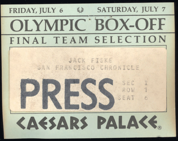 1984 OLYMPIC BOX-OFF FINALS PRESS CREDENTIAL (HOLYFIELD, WHITAKER, TAYLOR, BRELAND)