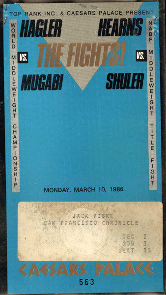 HAGLER, MARVIN-JAMES MUGABI & THOMAS HEARNS-JAMES SHULER PRESS CREDENTIAL (1986)