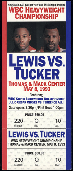 LEWIS, LENNOX-TONY TUCKER & JULIO CESAR CHAVEZ-TERRENCE ALI FULL TICKET (1993)