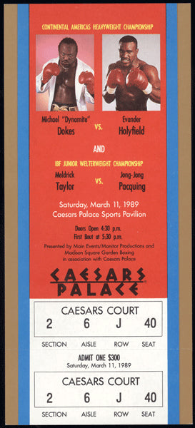HOLYFIELD, EVANDER-MICHAEL DOKES FULL TICKET (1989)