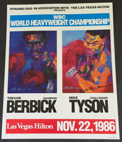 TYSON, MIKE-TREVOR BERBICK SIGNED ON SITE POSTER (1986-SIGNED BY TYSON & NEIMAN)