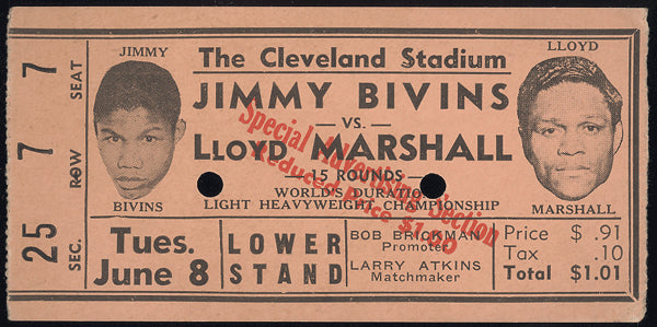 BIVINS, JIMMY-LLOYD MARSHALL STUBLESS TICKET (1943)