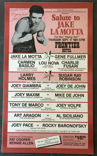 LAMOTTA, JAKE SALUTE TO SIGNED POSTER (1981)