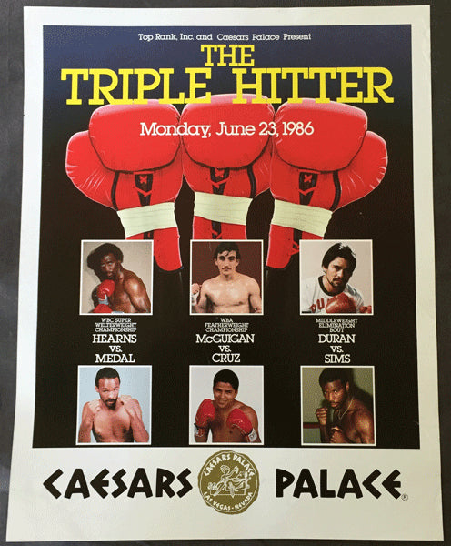 DURAN, ROBERTO-ROBBIE SIMS & HEARNS-MEDAL & MCGUIGAN-CRUZ ON SITE POSTER (1986)