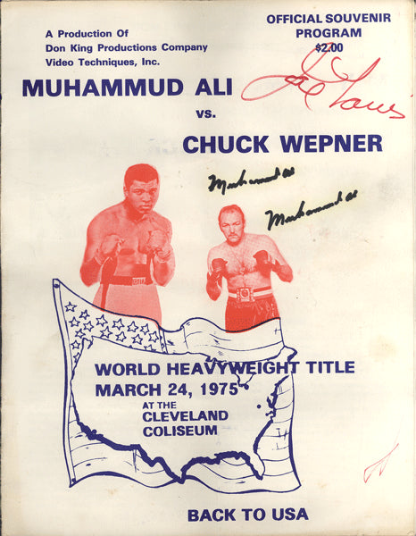 ALI, MUHAMMAD-CHUCK WEPNER SIGNED OFFICIAL PROGRAM (1975-SIGNED BY ALI TWICE & JOE LOUIS-PSA/DNA)