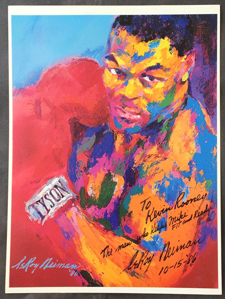 TYSON, MIKE 1986 LEROY NEIMAN POSTER (SIGNED BY NEIMAN TO TYSON TRAINER KEVIN ROONEY)