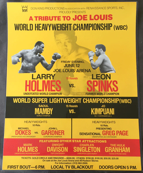 HOLMES, LARRY-LEON SPINKS ON SITE POSTER (1981)
