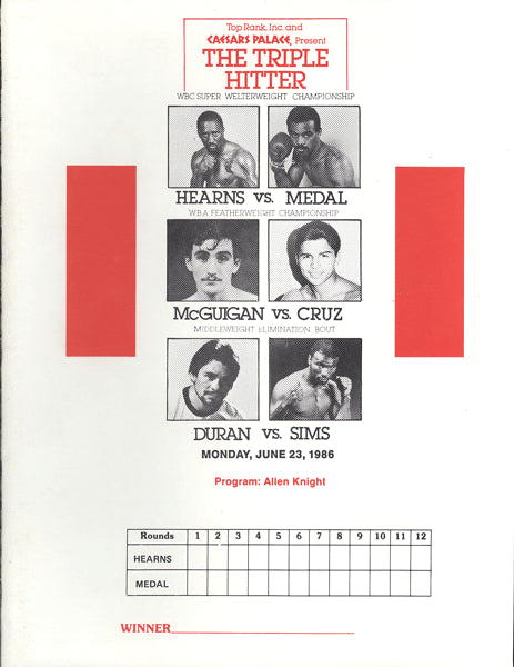 DURAN, ROBERTO-ROBBIE SIMS & HEARNS-MEDAL & MCGUIGAN-CRUZ PRESS KIT (1986)
