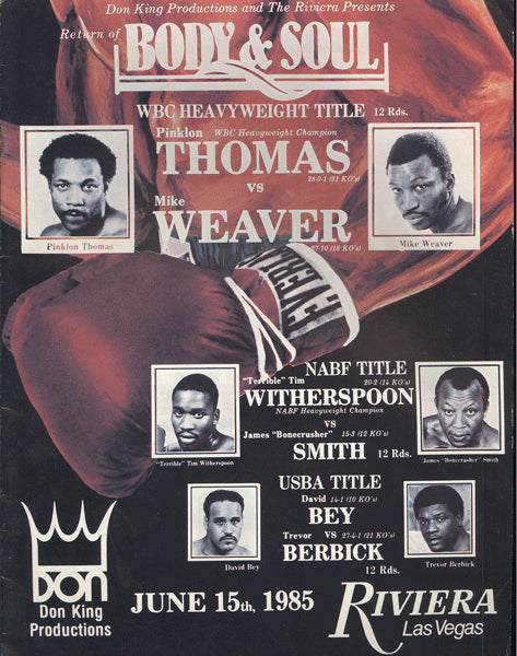 THOMAS, PINKLON-MIKE WEAVER OFFICIAL PROGRAM (1985)