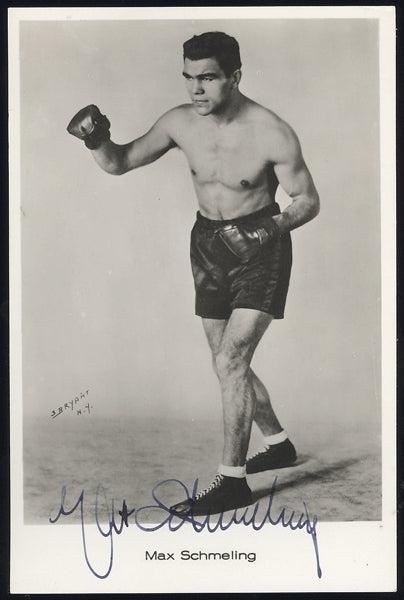 SCHMELING, MAX SIGNED REAL PHOTO POSTCARD