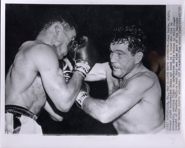 MACHEN, EDDIE-JOEY MAXIM II WIRE PHOTO (1957-3RD ROUND)