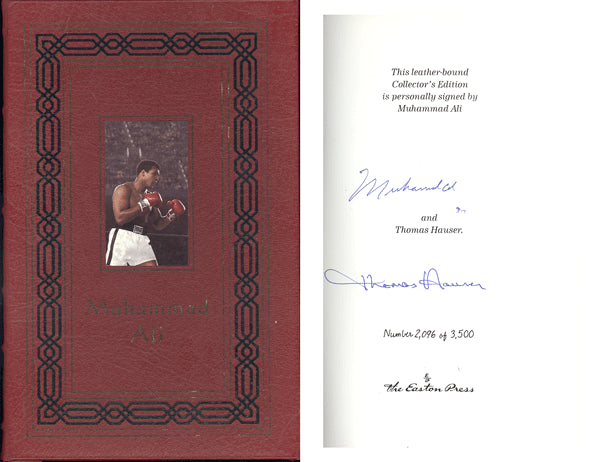 ALI, MUHAMMAD & THOMAS HAUSER SIGNED BOOK MUHAMMAD ALI HIS LIFE AND TIMES (LEATHER EDITION)