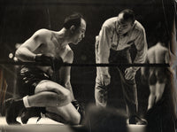 LOUIS, JOE-JOHNNY PAYCHECK WIRE PHOTO (1940-END OF FIGHT)