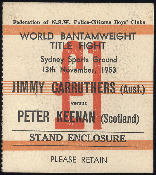 CARRUTHERS, JIMMY-PETER KEENAN TICKET STUB (1953)