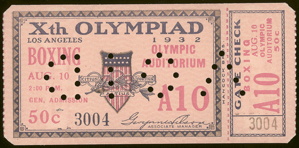 1932 OLYMPIC BOXING FULL TICKET