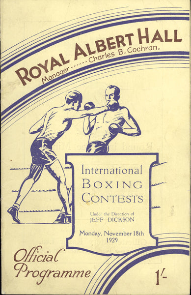 CARNERA, PRIMO-YOUNG STRIBLING OFFICIAL PROGRAM (1929)
