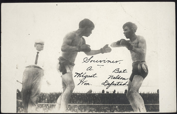 WOLGAST, AD-BATTLING NELSON REAL PHOTO POSTCARD (1910)