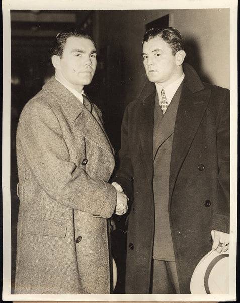 BRADDOCK, JIMMY & MAX SCHMELING WIRE PHOTO (1936)